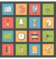 School flat icons set vector image