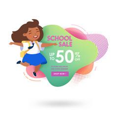 school sale advertising banner in memphis style vector image