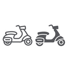 Scooter line and glyph icon transport and drive vector