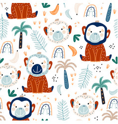 seamless childish pattern with cute monkey vector image