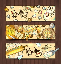 Set 3 hand-draw horizontal baners with baking vector
