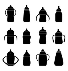 set black silhouettes babottles for milk vector image