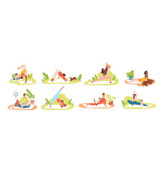 set different flexible people practicing yoga vector image