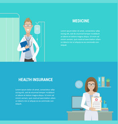 set of horizontal medical banners flat design vector image