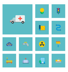 set of urban icons flat style symbols with pipe vector image