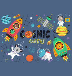 Set space animals doglionhippokoalafrog vector
