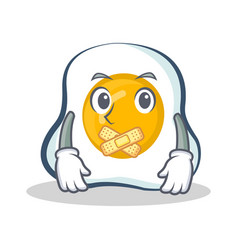 Silent fried egg character cartoon vector