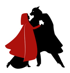 silhouettes of little red riding hood vector image