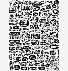 Speech bubbles words doodles vector