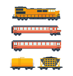 Steam locomotive with various wagons vector