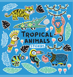 Sticker set with tropical animals vector