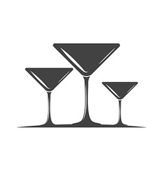 Three cocktail glasses black icon logo element vector
