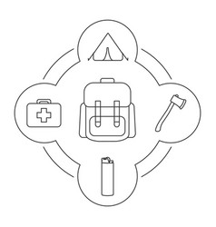 Tourists backpack contents linear icons set vector
