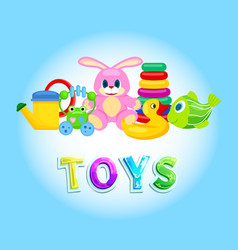 Toys collection isolated on blue poster vector