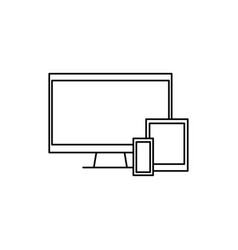 Tv tablet phone devices icon vector
