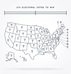usa linework electorial college map vector image