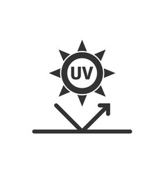 Uv radiation icon in flat style ultraviolet on vector