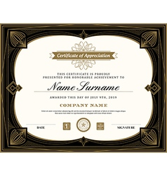 Vintage retro art deco frame certificate template vector image