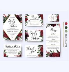 Wedding invitation save date rsvp design set vector