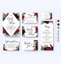 Wedding invitation save the date rsvp design set vector