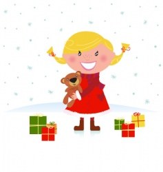 winter blond child with gifts vector image