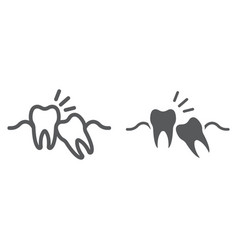 Wisdom teeth line and glyph icon stomatology vector