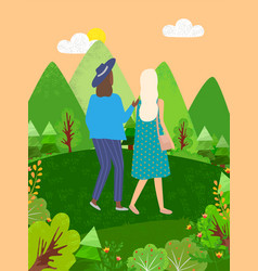 women walking in green park or forest back view vector image