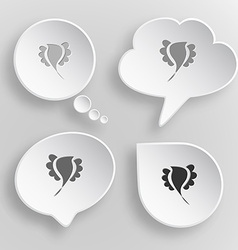 Abstract bird White flat buttons on gray vector image
