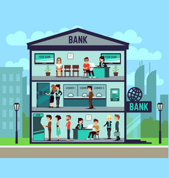 bank building with people and bank employees in vector image