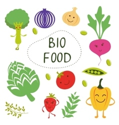 Colorful organic food collection vector image vector image