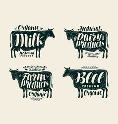 food vintage label set cow bull beef milk vector image