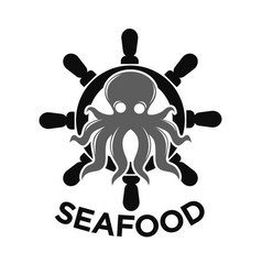 seafood logo with helm and octopus isolated on vector image