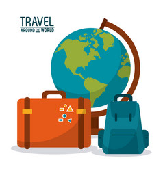 travel around the world globe map backpack vector image