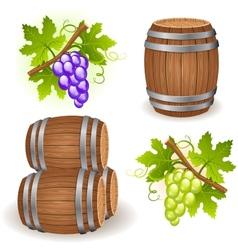 wooden barrels and grape vector image vector image