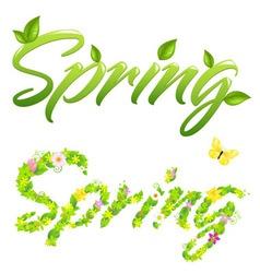 2 spring words vector image vector image