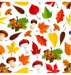 autumn leaf mushroom seamless pattern background vector image
