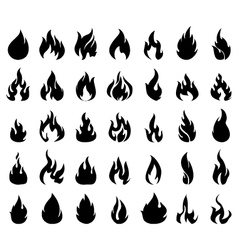 Fire icons set silhouette vector image vector image