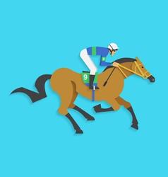 jockey riding race horse number 9 vector image
