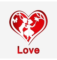 Red heart with couple in love vector image