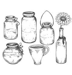 collection of hand drawn vases and jars vector image vector image