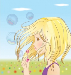 girl blowing up balloons vector image vector image