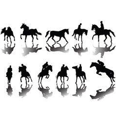 Horses and riders vector image vector image