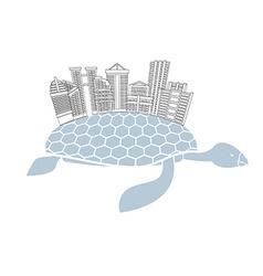 Metropolis on shell water turtles City skyscrapers vector image vector image
