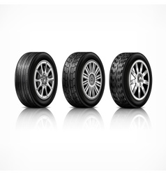 Three rubber wheels on white vector