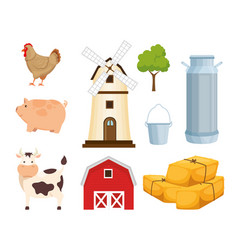 agriculture and farming icon set vector image vector image