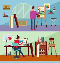 art studio horizontal banners vector image vector image