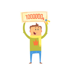 cartoon happy man with check for one million vector image