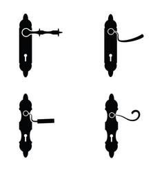 door handle icon set vector image vector image