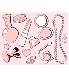 girlish fashion accessories vector image vector image