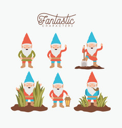 gnome fantastic character set with costume and vector image